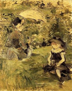 Berthe Morisot : Young Woman and Child on an Isle