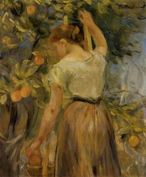 Berthe Morisot : Young Woman Picking Oranges