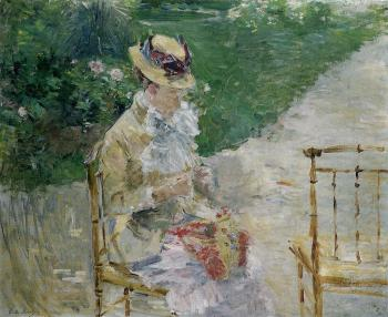 Berthe Morisot : Young Woman Sewing in the Garden