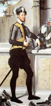Giovanni Battista Moroni : A Knight with his Jousting Helmet (Possibly Conte Faustino Avogadro)