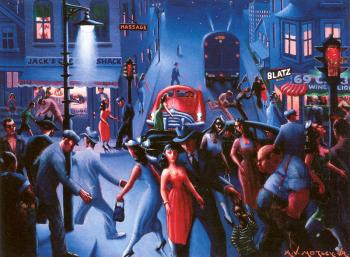 Archibald J Jr Motley : Bronzeville at Night