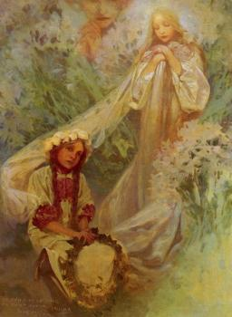 Alphonse Maria Mucha : Madonna of the Lilies