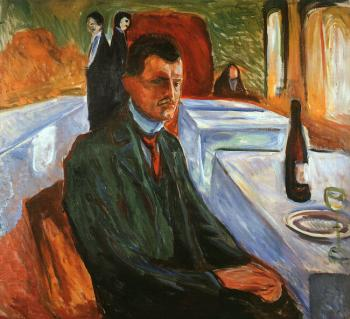 Edvard Munch : Self-Portrait with a Wine Bottle