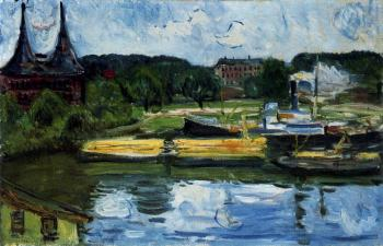 Edvard Munch : Lubeck Harbour with the Holstentor