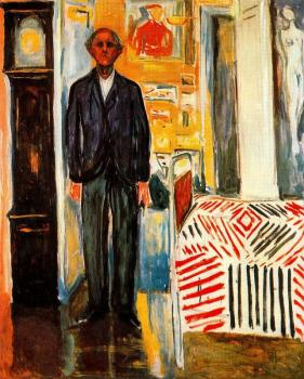 Edvard Munch : Self-portrait. Between the clock and the bed