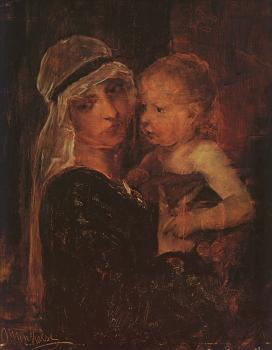 Mihaly Munkacsy : Mother and Child Study for Christ before Pilate