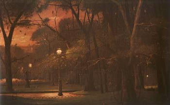 Mihaly Munkacsy : Park Monceau at Night
