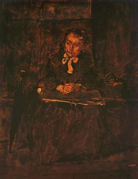 Mihaly Munkacsy : Seated Old Woman-Study for The  Pawnbroker's Shop