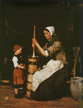 Mihaly Munkacsy : Woman Churning