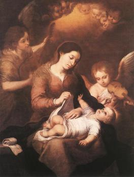 Mary and Child with Angels Playing Music