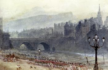 Myles Birket Foster : A View Of Old Town And Waverley Bridge From Princes Street Edinburgh
