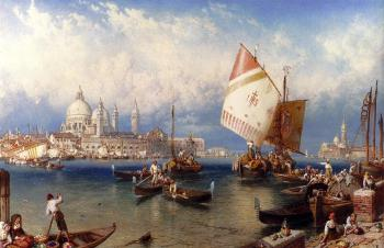 Myles Birket Foster : A market Day On The Giudecca Venice