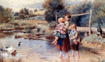 Myles Birket Foster : Children Paddling In A Stream