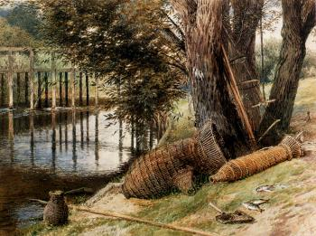 Myles Birket Foster : Eel Pots On The banks Of A River