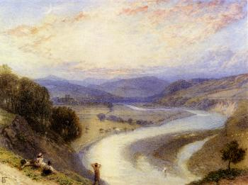 Myles Birket Foster : Melrose Abbey From The Banks Of The Tweed
