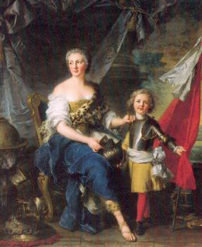 Jean Marc Nattier : Mademoiselle de Lambesc as Minerva, Arming her Brother the Comte de Brionne