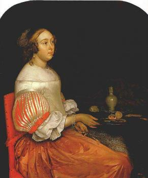 Eglon Van Der Neer : Young Lady at her Breakfast