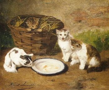 Alfred Arthur Brunel De Neuville : Kittens by a Bowl of Milk