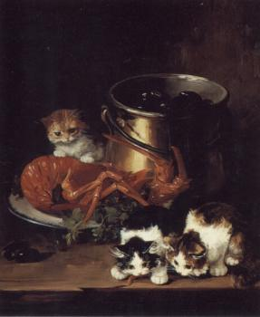 Alfred Arthur Brunel De Neuville : Kittens with Mussels and a Lobster