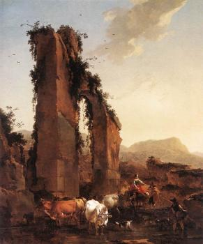 Nicolaes Berchem : Peasants With Cattle By A Ruined Aqueduct