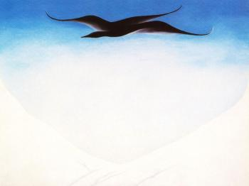 Georgia O Keeffe : A Black Bird With Snow Covered Red Hills