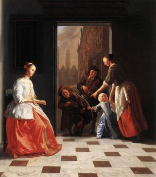 Jacob Ochtervelt : Street Musicians at the Doorway of a House