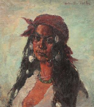 Gypsy woman with necklace and pipe