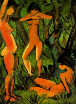 Three women in the forest