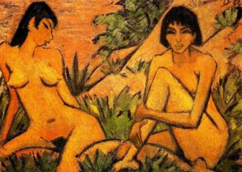 Two Women Seated In The Dunes