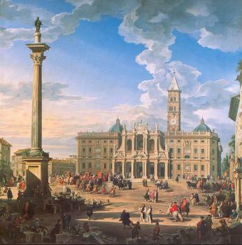 Giovanni Paolo Panini : The Plaza and Church of St. Maria Maggiore
