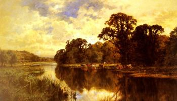 Henry Hillier Parker : Cattle Watering on a Riverbank