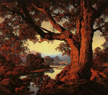Maxfield Parrish : Riverbank in Autumn