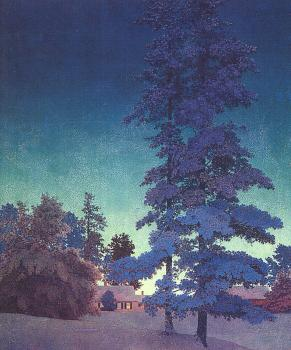 Maxfield Parrish : Winter Night Landscape Two Tall Pines