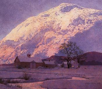 Maxfield Parrish : Mountain Farm at Winter