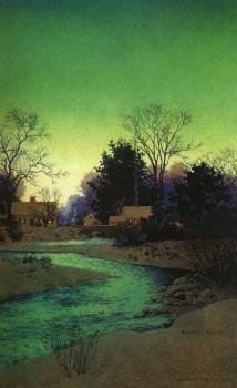 Maxfield Parrish : Lull Brook Winter, detail