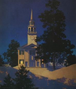 Maxfield Parrish : Peaceful Night  Church at Norwich, Vermont