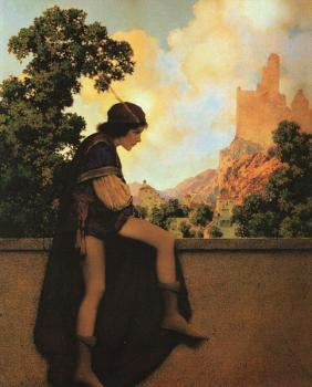 Maxfield Parrish : The Knave Watches Violetta Depart