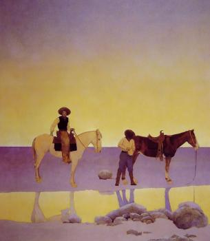 Maxfield Parrish : Cowboys Hot Springs Arizona