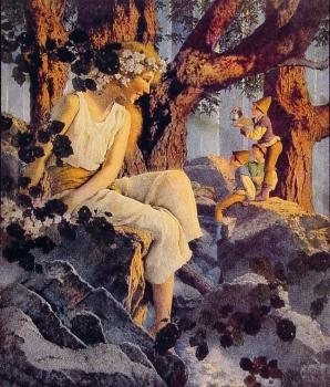Maxfield Parrish : Girl with Elves