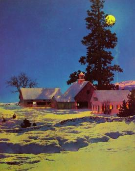 Maxfield Parrish : Moonlight Night-Winter