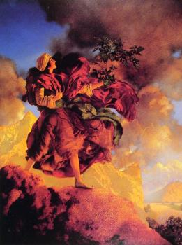 Maxfield Parrish : Princess Parizade Bringing Home the Singing Tree