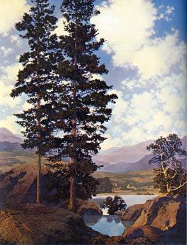 Maxfield Parrish : Thy Templed Hills