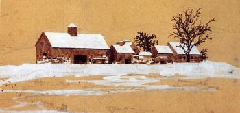 Maxfield Parrish : Study for Hiltop farm, Winter