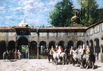 Alberto Pasini : Circassian Knights Waiting for Their Leader