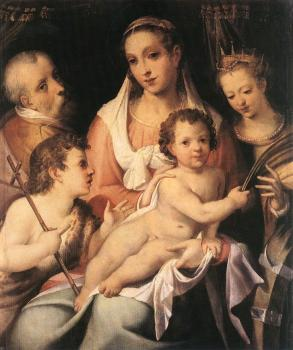 Bartolomeo Passerotti : Holy Family with the Infant St John the Baptist and St Cathe