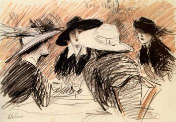 Paul Cesar Helleu : Ladies At The Ritz New York