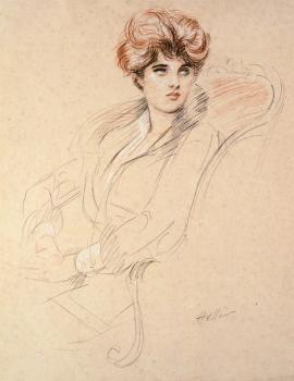 Paul Cesar Helleu : Portrait Of A Lady Seated