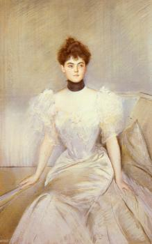 Paul Cesar Helleu : Portrait Of Lady With A Fan