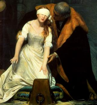 Paul Delaroche : The Execution of Lady Jane Grey detail
