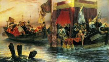 Paul Delaroche : The State Barge of Cardinal Richelieu on the Rhone